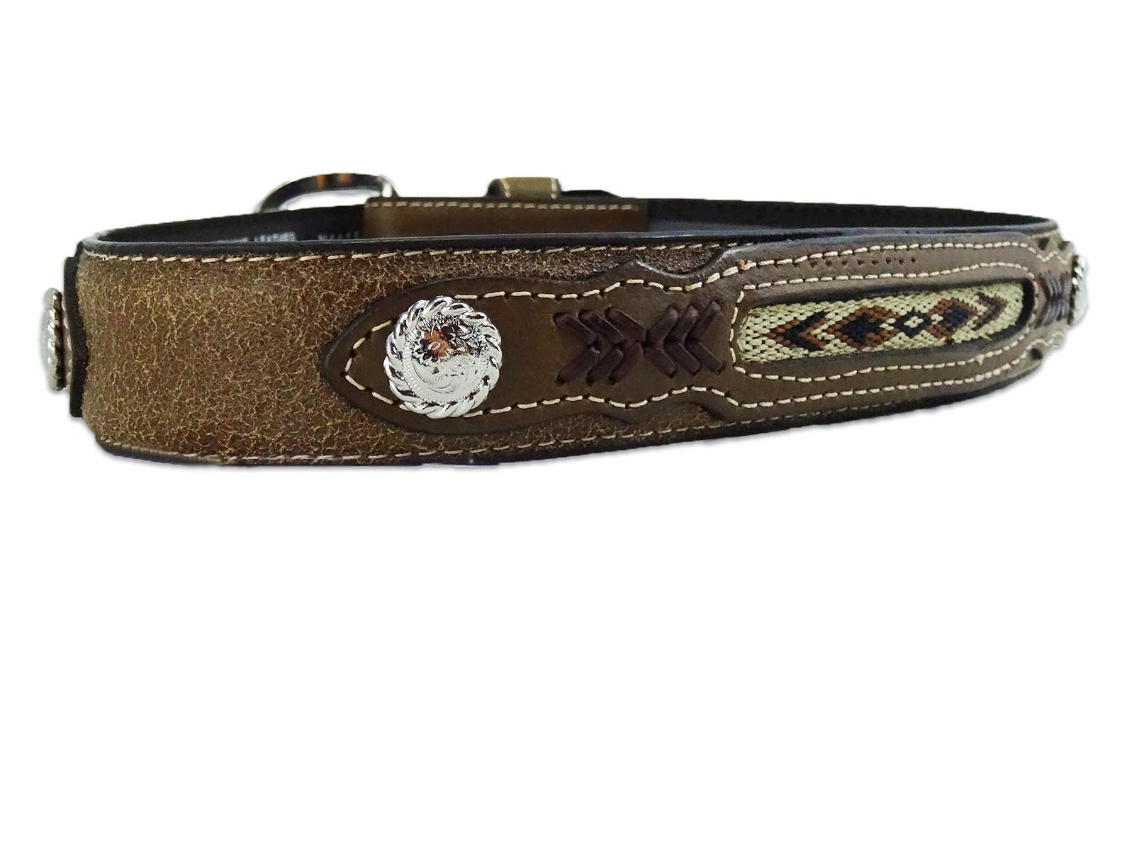 Nocona Boy's Fabric Insert Belt, Medium Brown Distressed, 26