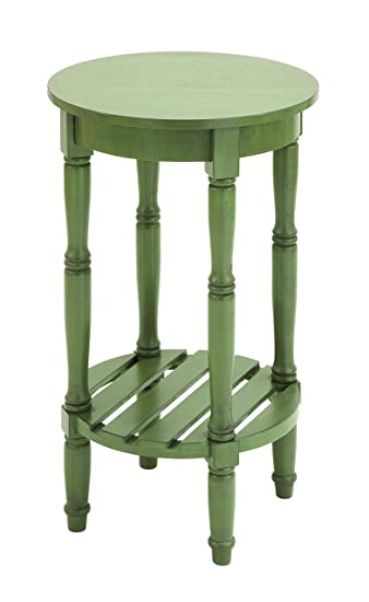 Exceptional Benzara Wood Round Side Table, 18 By 18 By 18 Inch, Green
