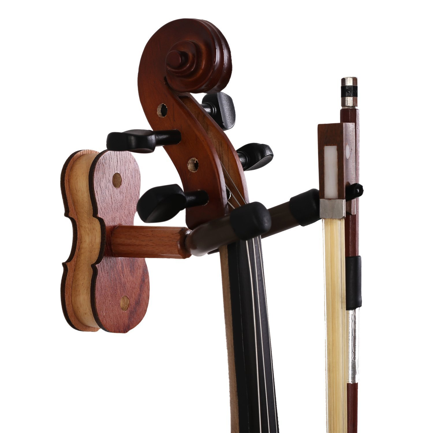 Rosewood Violin Hanger With Bow Hanger Home & Studio Wall Mount Violin Hanger (Rosewood MA-R5)