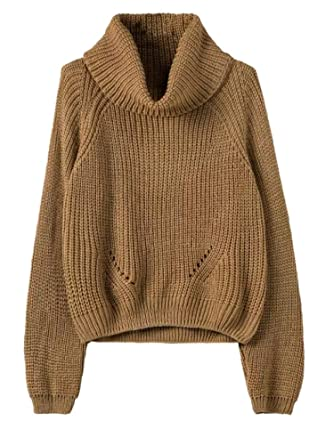 Lingswallow Womens Brown Cowl Neck Knitted Casual Oversized