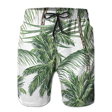 00a42e6e65 Feimao Palm Trees Tropical Leaves Men's Board Shorts Summer Casual Swim  Shorts with Pockets | Amazon.com
