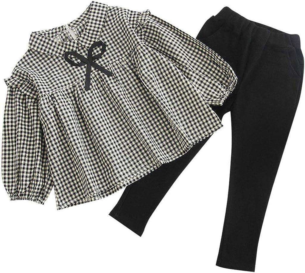 Xmiral Conjunto Bebé Niñas, Camisa de Cuadros con Lazo Tops + Pantalones para Primavera Otoño (Negro, 6-12 Meses): Amazon.es: Ropa y accesorios