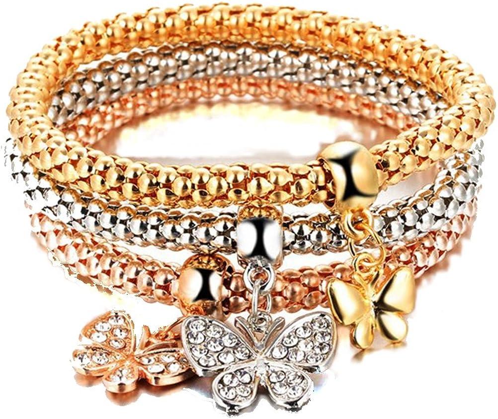 FENICAL Pulsera de las mujeres micro-embutido elástico palomitas de maíz cadena de mariposa de diamante colgante aleación pulsera tricolor conjunto 3pcs