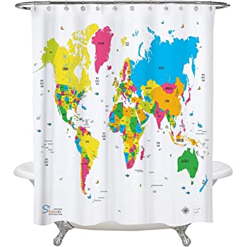 Amazon periodic table shower curtain eva vinyl the official amazing shower curtains 2018 world map shower curtain 70x70 gumiabroncs Image collections