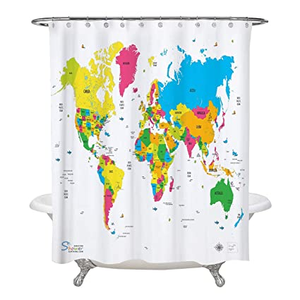 Amazon Com Amazing Shower Curtains 2019 World Map Shower Curtain