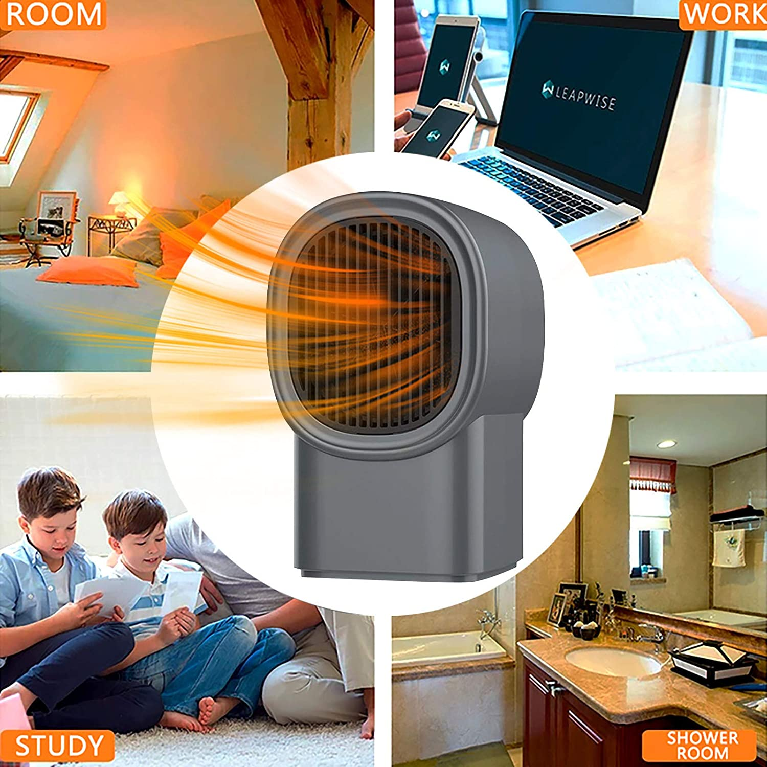 Adjustbale 3 Levels PTC Ceramic Heating for Home/&Office 3 Second Fast Heating Powerful/&Portable Home Heater-High Heating Efficiency