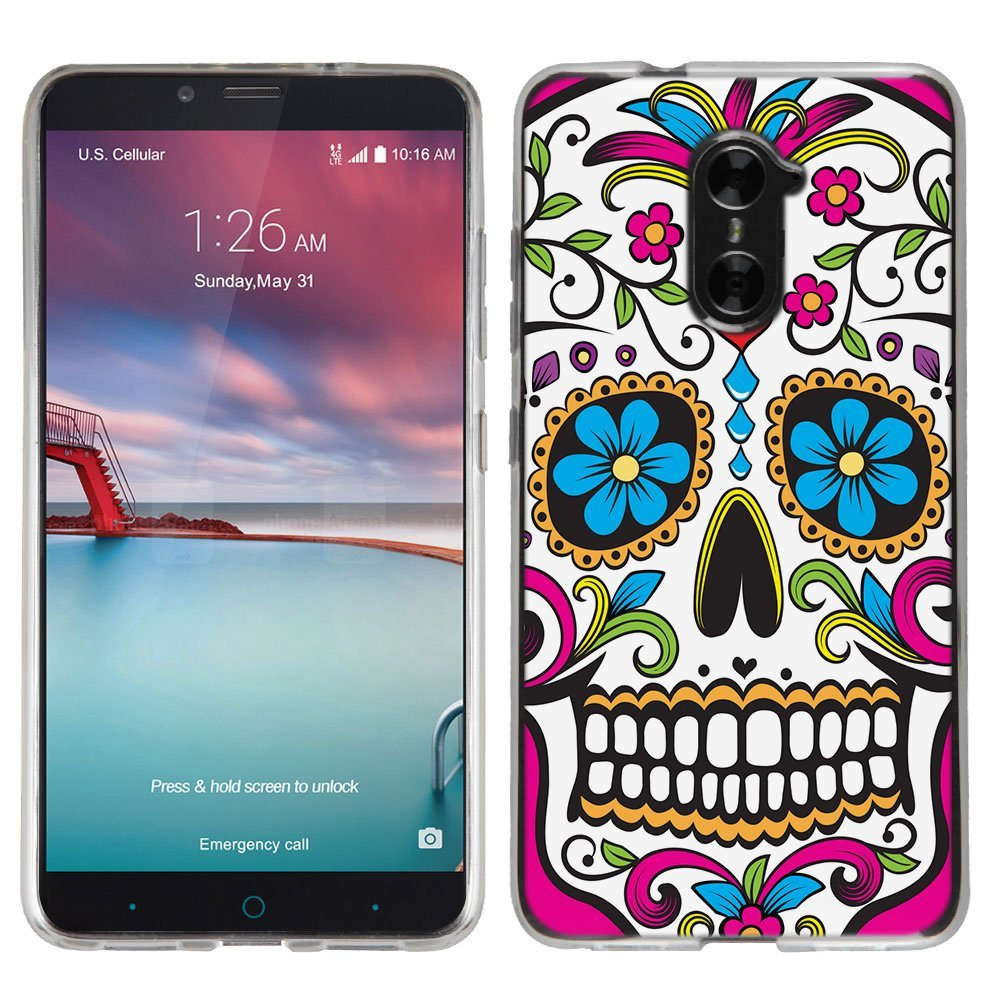 Amazon.com: ZTE ZMAX Pro case - [Sugar Skull] (Crystal Clear ...