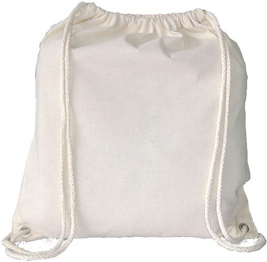 5 NATURAL COTTON DRAWSTRING BACKPACK RUCKSACK BAGS