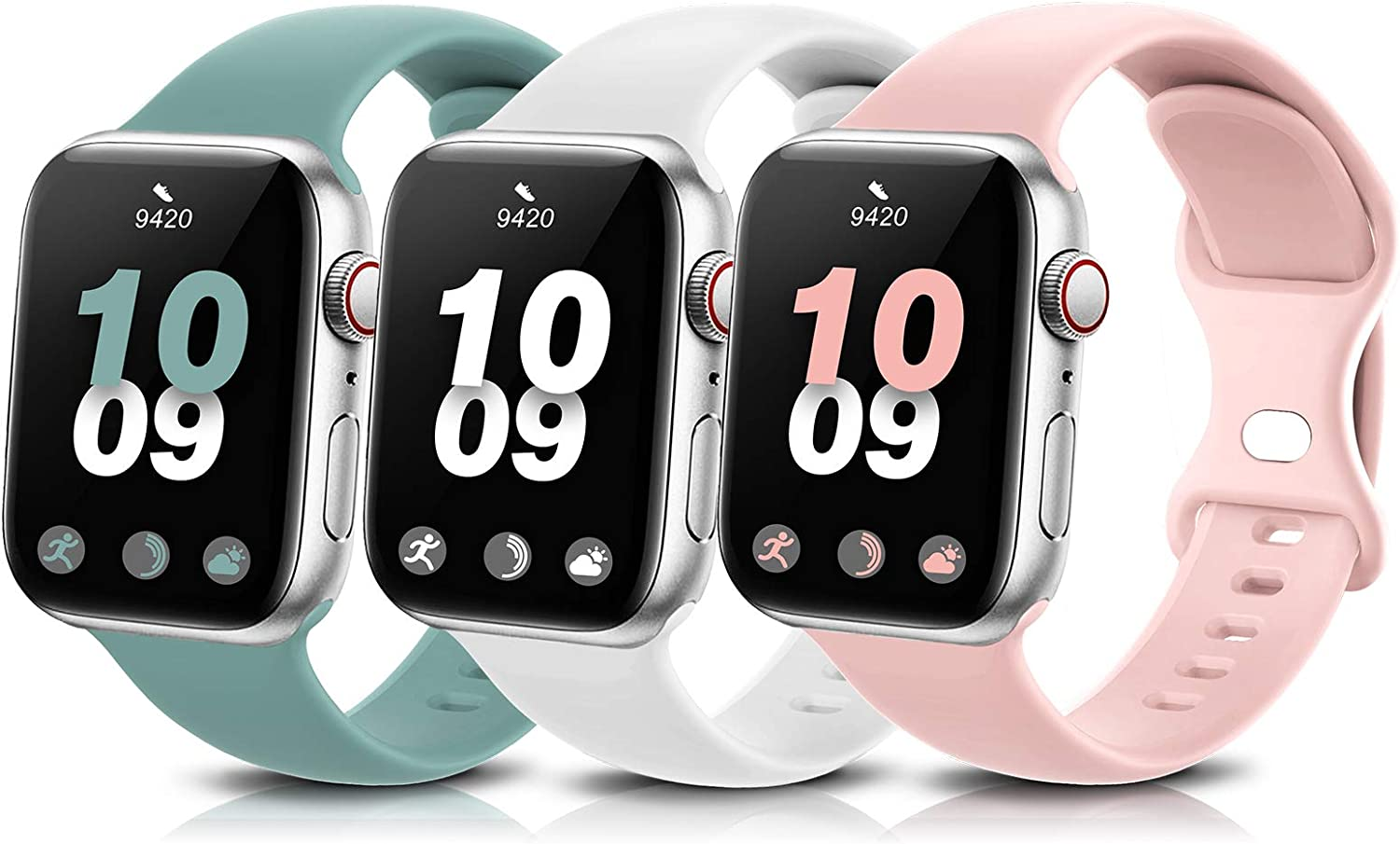 3 Pack Sport Band Compatible with Apple Watch Bands 38mm 40mm 42mm 44mm, Soft Silicone Replacement Compatible with iWatch Series 6 5 4 3 2 1 Women Men Sand Pink/White/Cactus 38mm/40mm S/M