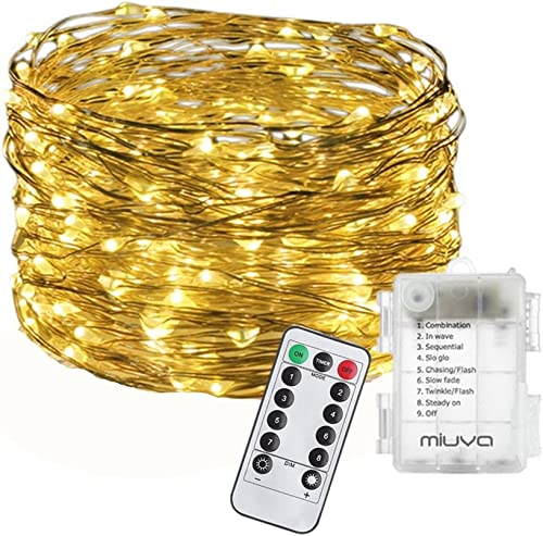 MIUVA Fairy String Lights 33FT 100 LEDs Warm White Decorative Lights,Battery Operated 8 Modes Firefly Twinkling Copper Wire lightwith Remote Control for Indoor,Outdoor,Party,Wedding,Holiday