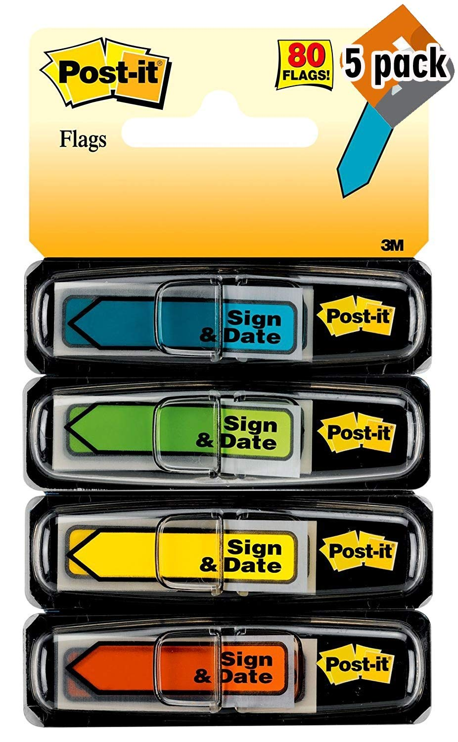 Post-it Message Flags,''Sign and Date'', Assorted Colors.47 in. Wide, 30/Dispenser, 4 Dispensers/Pack by Post-it