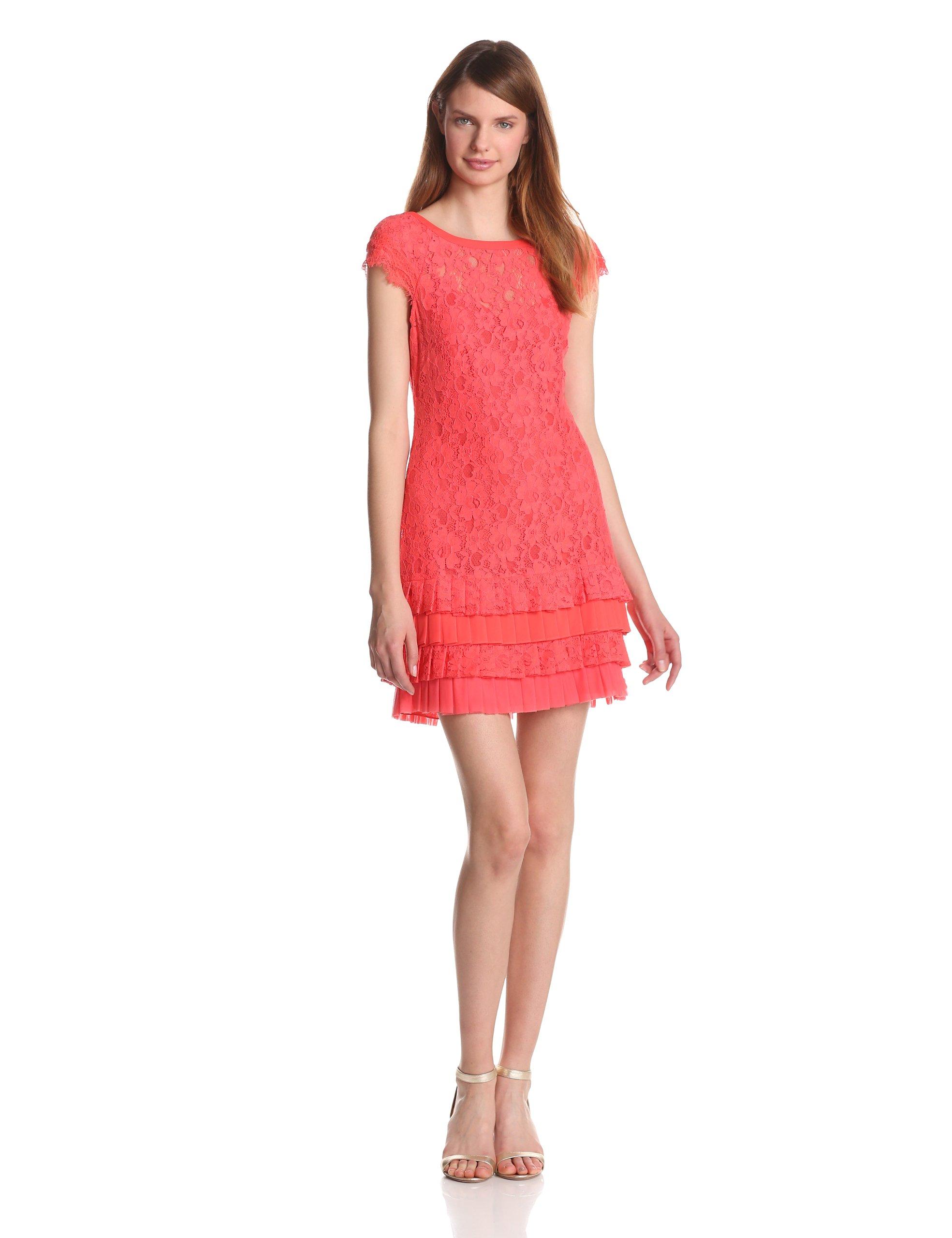 Jessica Simpson Women's Drop Waist Lace Overlay Dress, Hot Coral, 4