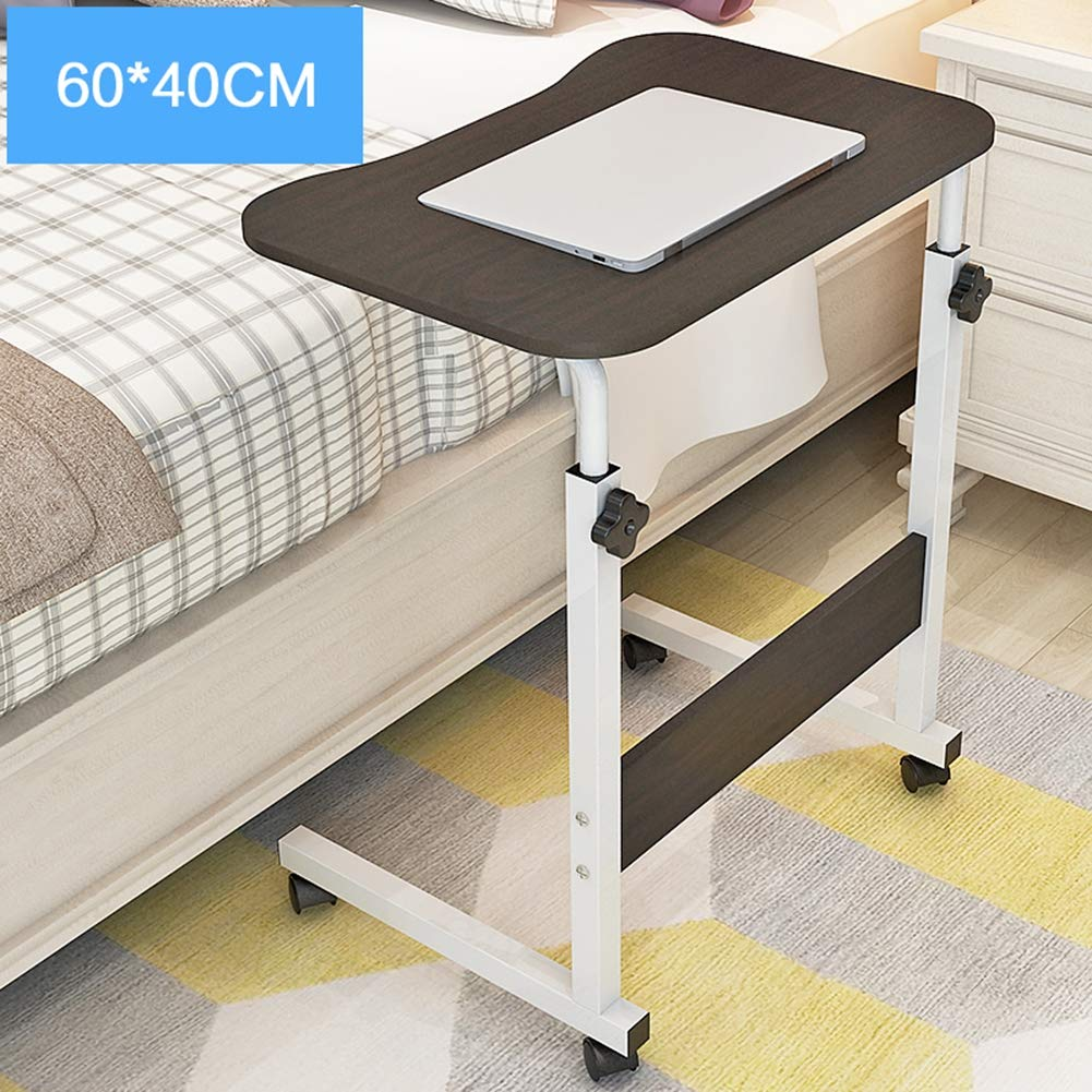 XUEXUE Simple Lazy Bed with Lifting Laptop Table Simple Moving Bedside Computer Desk Height Adjustable Free to Move Stopper Ledge Computer Work Station Student Dorm Home Office,B