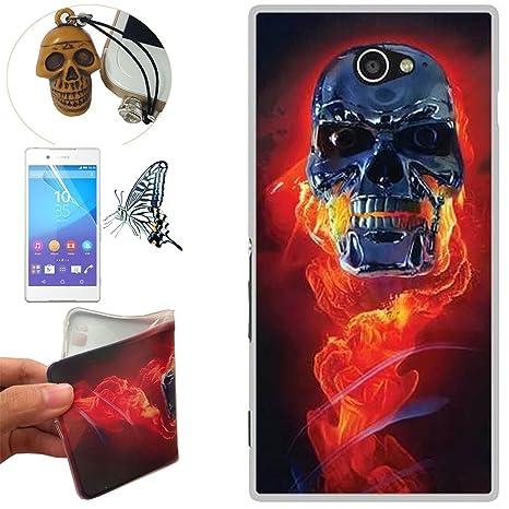 Sony Xperia M2 Funda, Rockconcept TPU Funda de Silicona de Gel Carcasa Tapa Case Cover para Sony Xperia M2 (Cráneo del fuego) + 1x Tapón de Polvo + 1x ...
