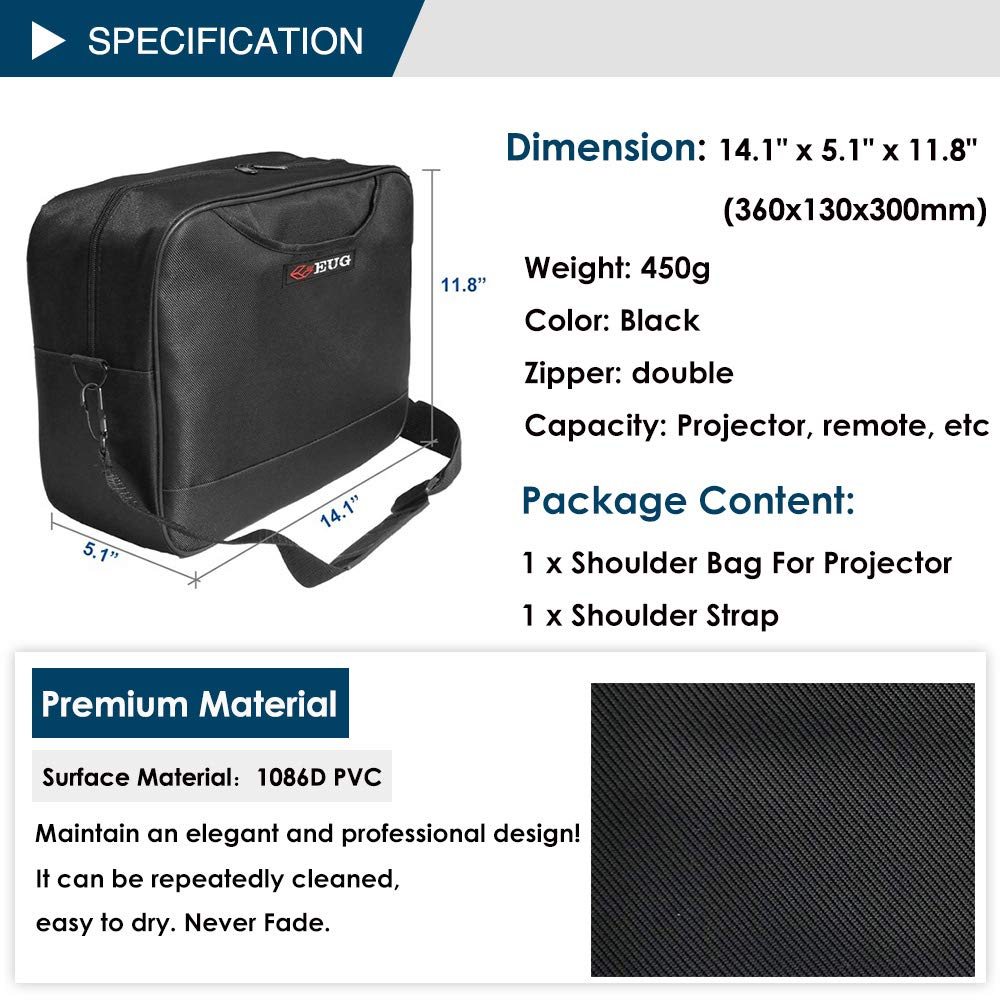 Universal Projector Carrying Case Soft Laptop Travel Shoulder Bag with Detachable Shoulder Strap - 14x12x5 inch - for Optoma HD142X, ViewSonic PJD7828HDL, Epson EX3240 and More Small Travel Projectors by WIKISH (Image #3)