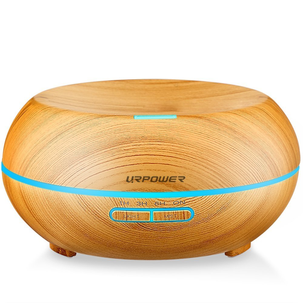 URPOWER 200ml Aromatherapy Essential Oil Diffuser Humidifier with 7 Color LED Lights and Waterless Auto Shut-off- Wood Grain