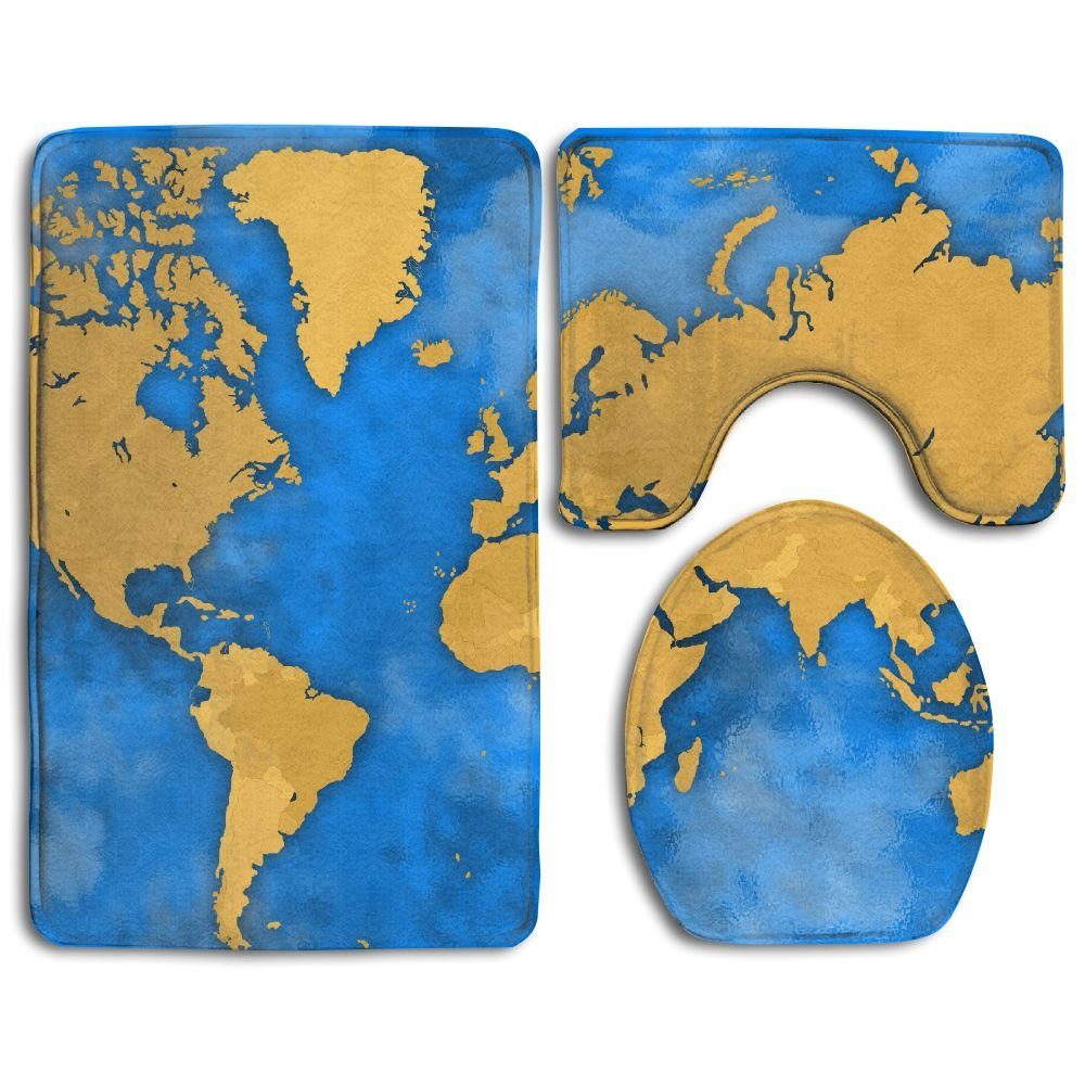 YSSH HOME Africa America Antarctica Asia Map Prints Non-Slip Bathroom Rugs 3 Piece Set Anti-skid Pads Bath Mat + Toilet Lid Cover + Contour