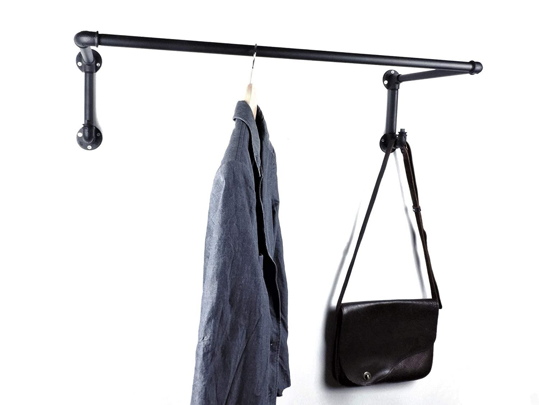 Wandbefestigung Stahlrohr Pulverbeschichtet Industrial Design 90 oder 110cm f/ür Kleiderb/ügel Garderobe schwarz Metall sehr stabile Kleiderstange