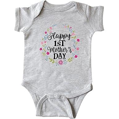 53327ecf0 inktastic - Happy 1st Mothers Day Infant Creeper Newborn Heather Grey 2f629