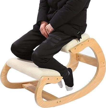 Silla de rodillas ergonómica para postura vertical, silla mecedora, taburete para casa, oficina y meditación, cojín de madera y lino, alivia el dolor