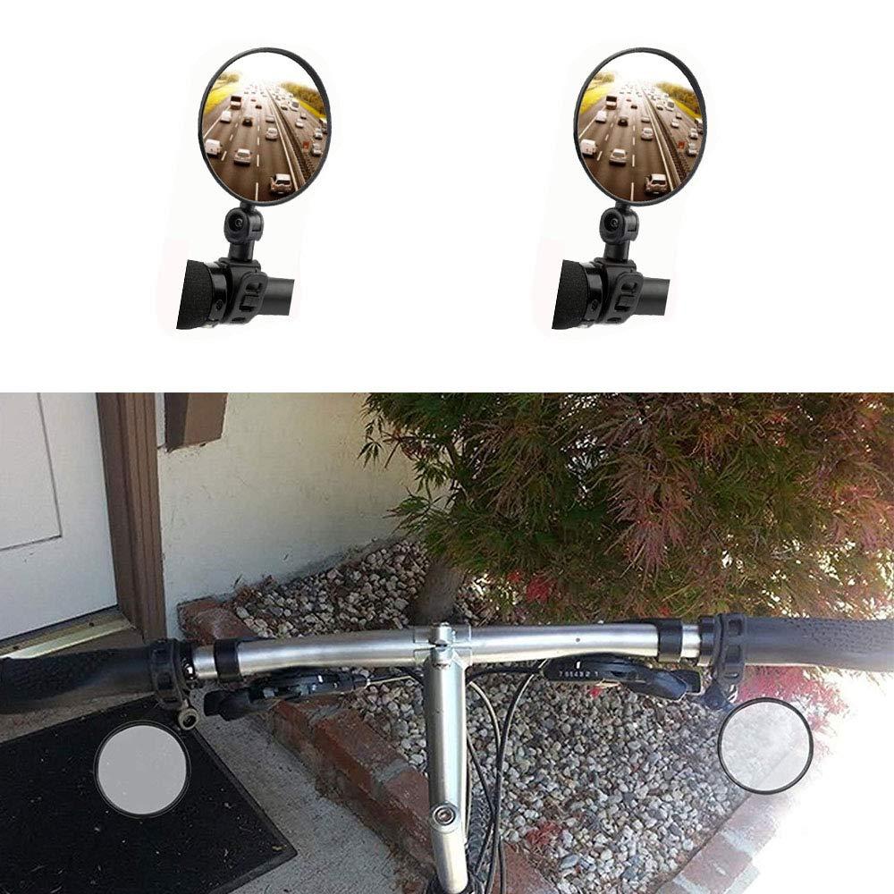 evaclarly R/étroviseur de v/élo,Mini Rotary Rearview R/étroviseur Guidon de v/élo miroirs 360/° Rabattable Universel Rotatif Guidon Accessoires de v/élo pour Mountain Road V/élo,Noir,4 pcs