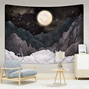 "Mountain Tapestry Moon Stars Tapestries Night Starry Sky Tapestry Nature Landscape Mountain Tapestry Wall Hanging for Room 59.1"" x 82.7"""