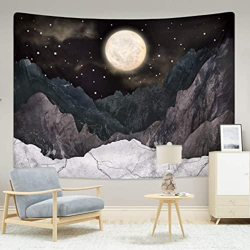 Mountain Tapestry Moon Stars Tapestries Night Starry Sky Tapestry Nature Landscape Mountain Tapestry Wall Hanging for Room 70.9 92.5 inches