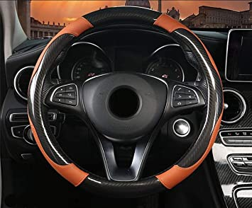 Universal Orange Anti Slip PU Leather Steering Wheel Stitch On Wrap Cover 38cm