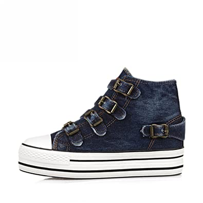 Mandaartins Canva Shoes Women Denim Shoes Hide Wedges Canvas Womens Shoes Lace Up Casual Shoes Blue