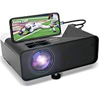 GRC Mini Projector, Full HD 1080 Supported Native 720P Projector Movie Projector, with Built-in HiFi Sound Speaker…