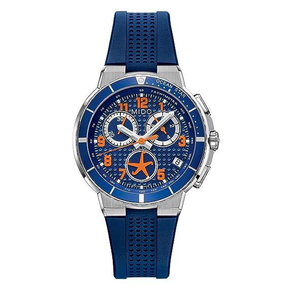 MIDO m0026171704200 Ocean Star - Reloj para hombre esfera azul cronógrafo de cuarzo suizo reloj m002.617.17.042.00: Amazon.es: Relojes