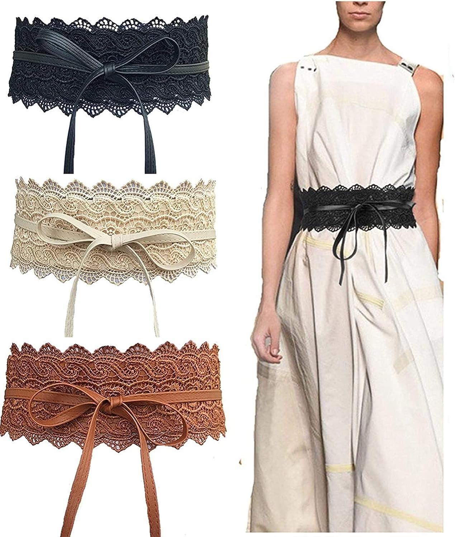EE/_ Wide Corset Lace Belt Tie-up Waistband Women Wedding Dress Waist Band Belts