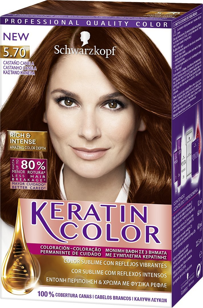 Schwarzkopf KERATIN COLOR Professional Quality Permanent Color Hair Dye No.5.70 Chestnut Cinnamon by Schwarzkopf
