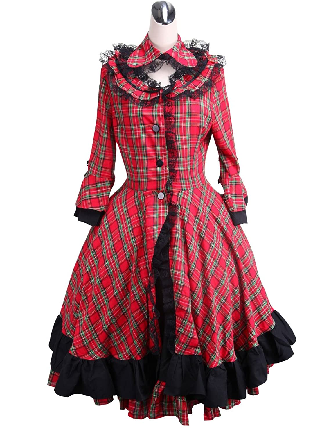 Vintage Style Children's Clothing: Girls, Boys, Baby, Toddler antaina Red Plaid Cotton Black Lace Classic Victorian Lolita Cosplay Coat Dress $58.99 AT vintagedancer.com