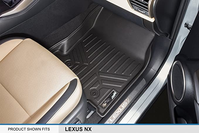 Maite Custom Car Floor Mat Fit for Lexus NX NX200t NX300 NX300h 2015 2016 2017 2018 Full Surrouded XPE Leather Waterproof Carpets Mats Black with Beige Stitching