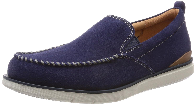 Clarks Edgewood Step, Mocasines para Hombre 44.5 EU|Azul (Blue Suede)