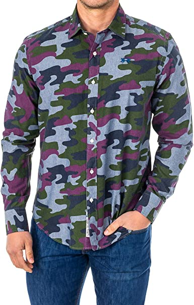 La Martina Shirt L/S Camo Chambray Camisa Casual para Hombre ...