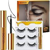 Magnetic Eyelashes with Eyeliner Kit, 6D 3 Pairs Magnetic Lashes Reusable Natural Look Eyelashes, Magnetic Eyelash (3 pairs)
