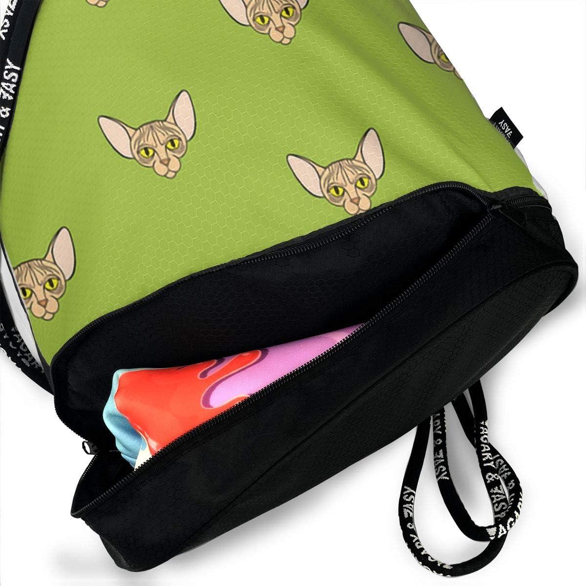Drawstring Backpack Sphynx Cat Shoulder Bags