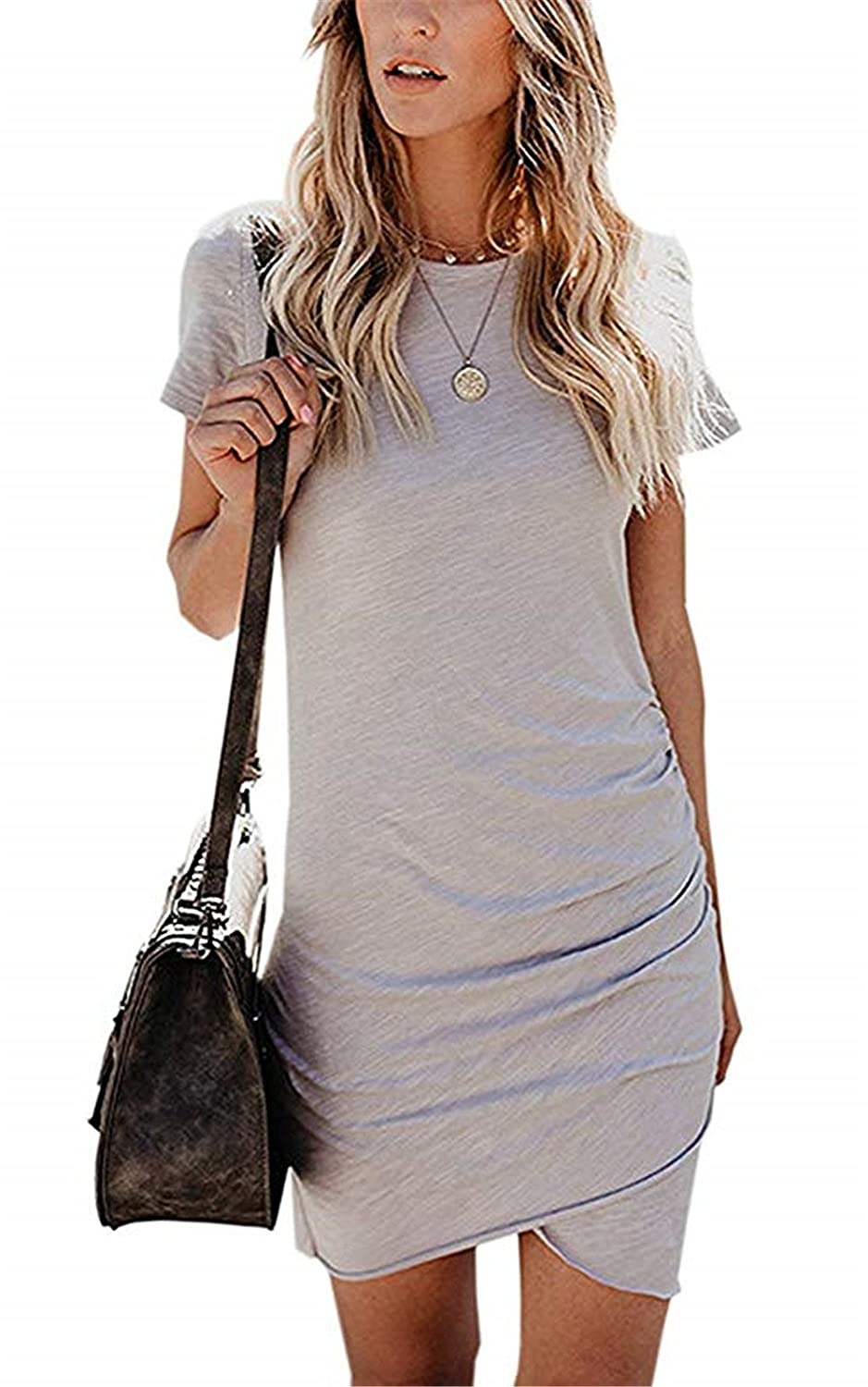 pabo store Women Short Sleeve Sheath Dress Irregular Hem Bodycon Mini Dress