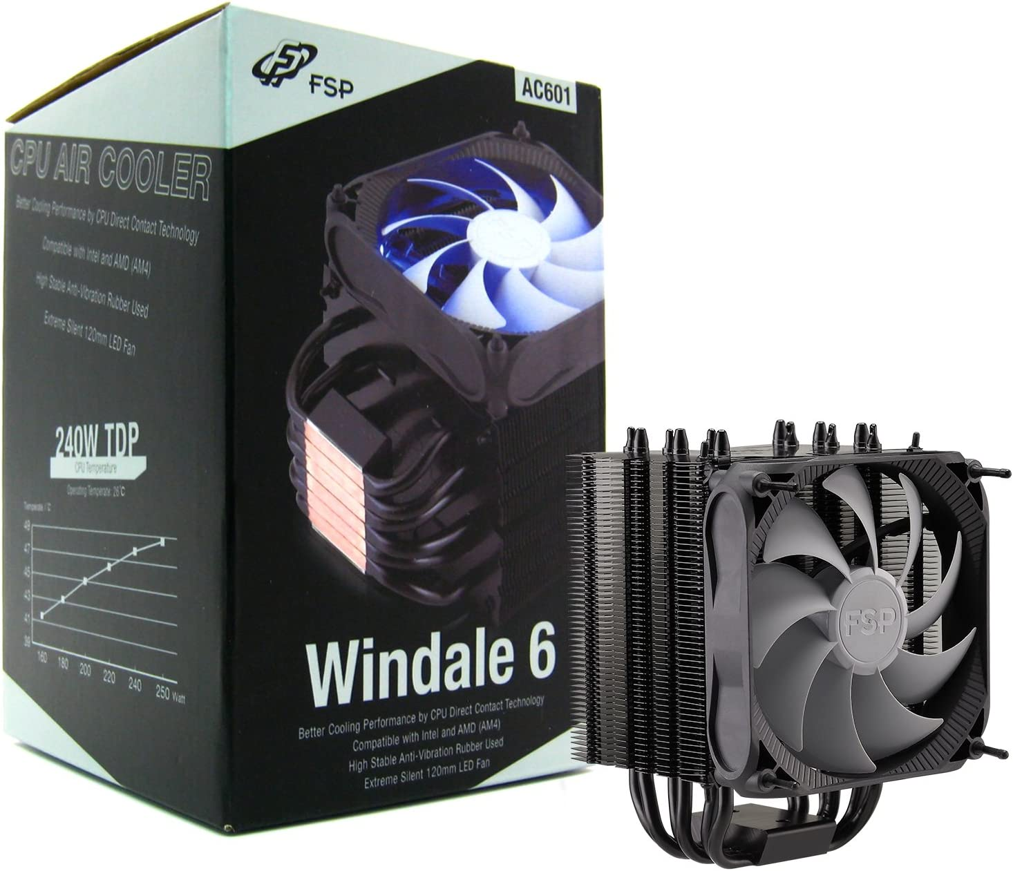 FSP Windale 6 CPU Cooler 6 Direct Contact Heatpipes 6mm Black Aluminum Alloy with 120mm Blue LED PWM Fan (AC601)