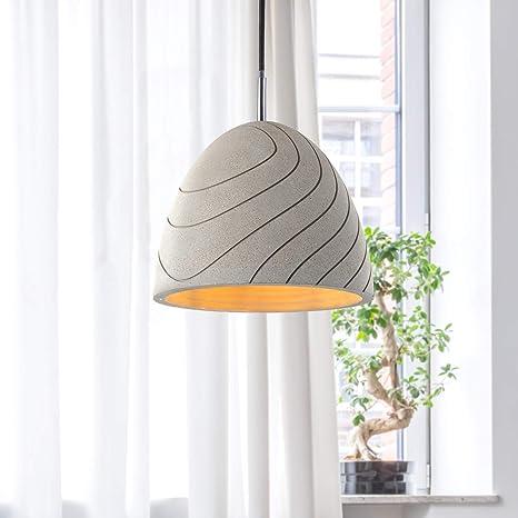 Lampada a sospensione a LED, E27, per soggiorno, sala da pranzo, cucina, regolabile in altezza, Colore:Calcestruzzo grigio pietra, Lampadina:Senza