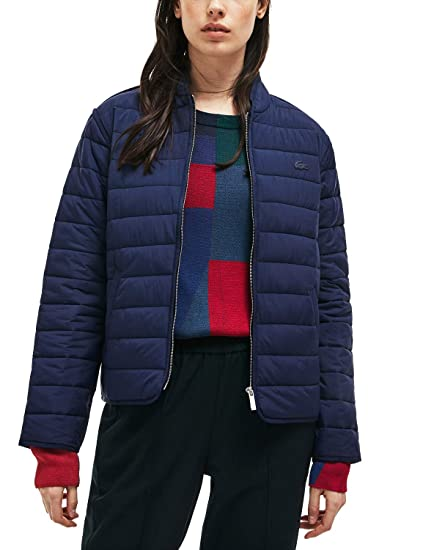 d0f2a9a8d Lacoste Women s Quilted Jacket Blue in Size EU 36   S  Amazon.co.uk   Clothing