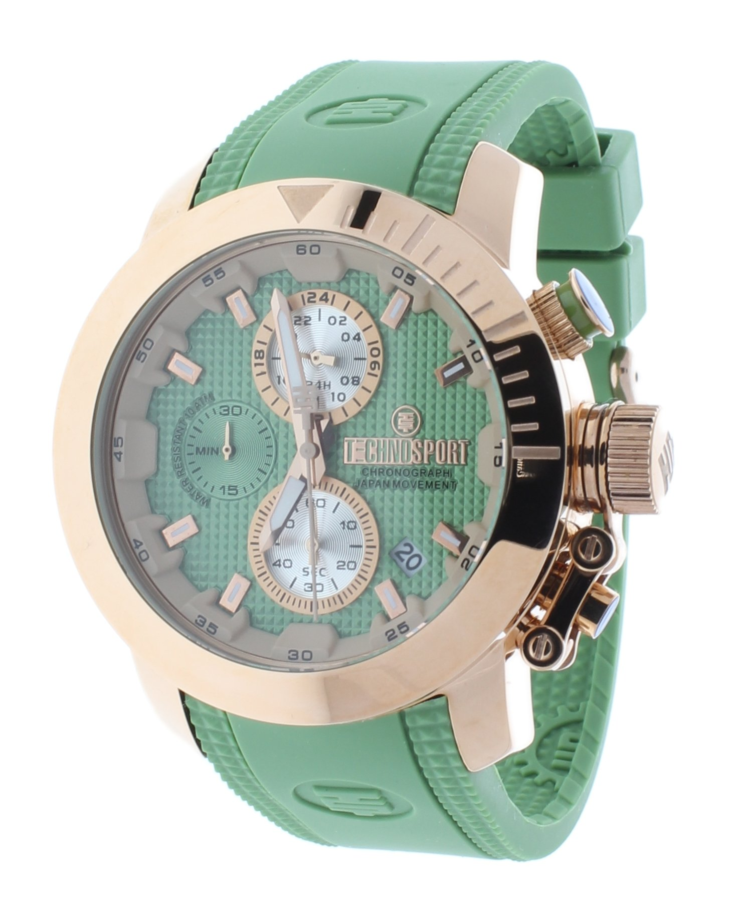 Technosport TS-231-6 Unisex Watch Rose Gold And Light Green Chronograph Function Silicone Strap