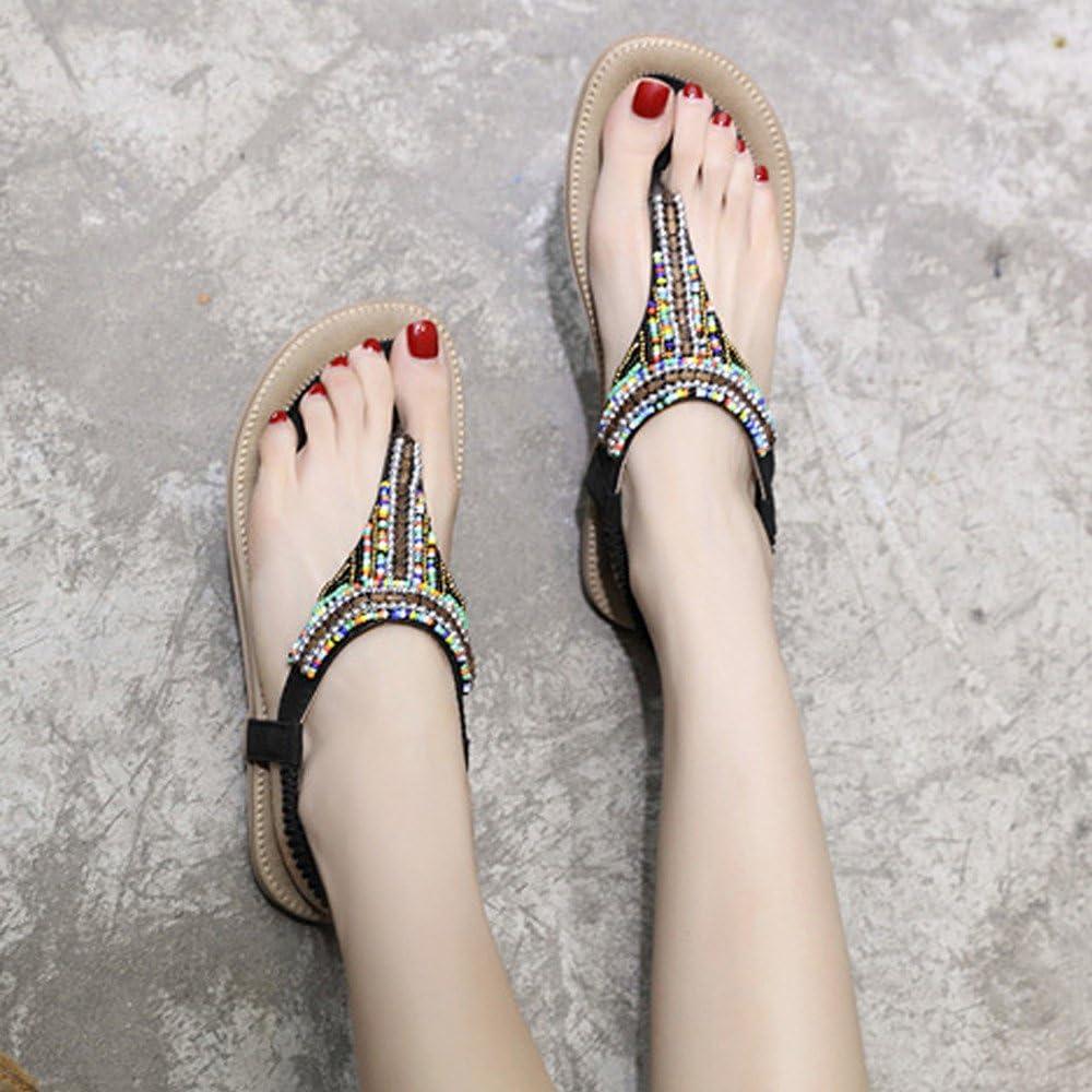 Womens Summer Beach Flat Sandals Bohemia Beaded T-Strap Rhinestone Slip On Sandalses Shoes MILIMIEYIK Women Slide Sandal