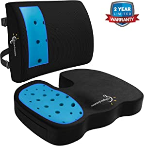 Lifestyle Memory Foam Seat Cushion and Lumbar Back Cushion Combo, Gel Infused Ventilated, Orthopedic Design for Coccyx Tailbone Pain and Sciatica, Perfect for Office Chair