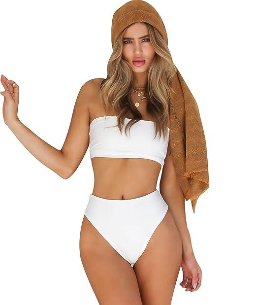 dc9de0172b86 Bikini Talle Alto Halter Trajes de Baño Mujer Bikinis Bandeau Bikini ...