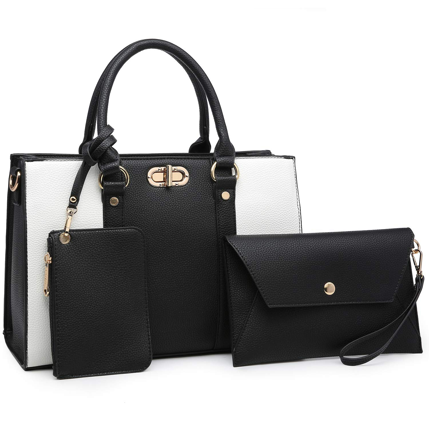 9de584cb4df4 Amazon.com  MMK Women handbags Top handle Satchel bags for Ladies Set Vegan  Leather purse wallet(3 pieces set) (8010-Black White)  Shoes