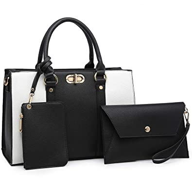 de416838ea9e Amazon.com  MMK Women handbags Top handle Satchel bags for Ladies Set Vegan Leather  purse wallet(3 pieces set) (8010-Black White)  Shoes