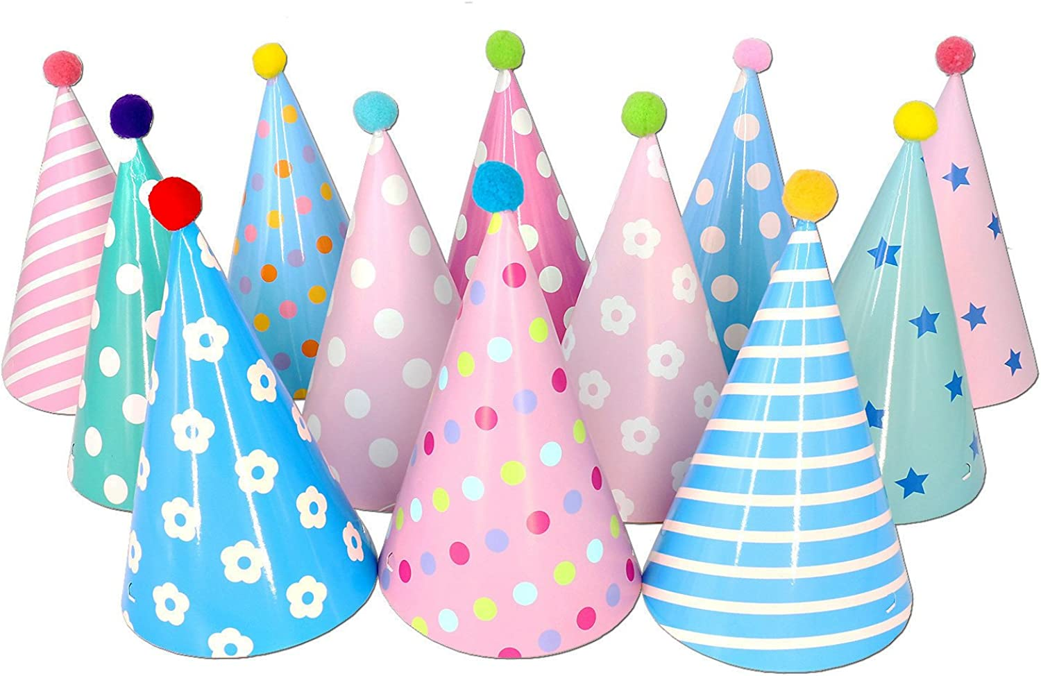 Beurio Kids Happy Birthday Paper Party Cone Hats with Pom Poms, 12ct: Clothing
